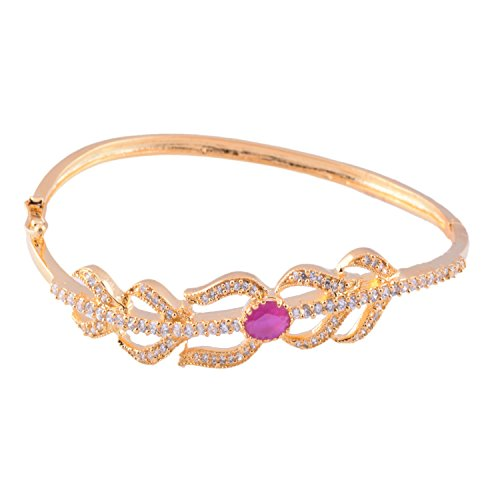 Ganapathy Gems 1 Gram Gold Plated Bracelet With White CZ And Pink CZ - B00TLK6QB2