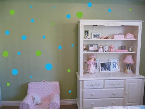 Set Of 130 Sky Blue And Lime Green Polka Dots Circles Wall Decor Graphic Vinyl Lettering Mural Decal Stickers Kit Peel And Stick Appliques front-1046308