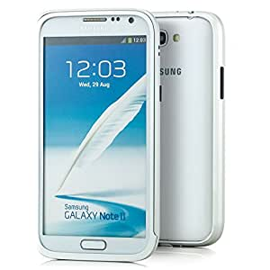 Saxonia. Aluminium Bumper für Samsung Galaxy Note 2 GT-N7100 / GT-N7105 LTE Case Schutzhülle in Silber