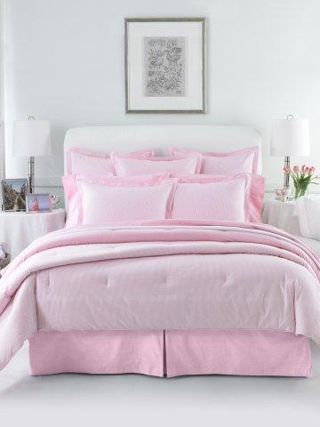 Lauren by Ralph Lauren Bedding; University Pink & White Stripe Oxford Comforter, TWIN