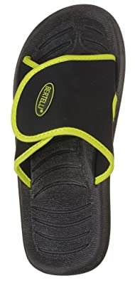 BERTELLI Mens Slide Beach Sandal Slipper With A 'Firm Feel' And Classy Colors (Black/Lime Green, 7)