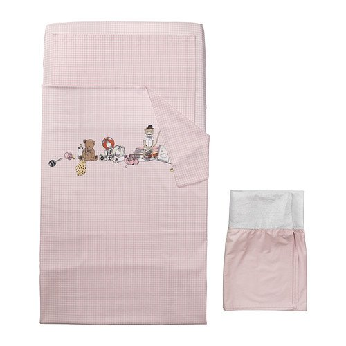 (4) Piece Crib Baby's Crib Linen Gift Set ~ (1) Pale Pink and White Gingham Duvet Featuring a Teddy Bear, a Monkey, Books, & Toys in the Design, (1) Pale Pink Solid Sheet, (1) Matching Gingham Pillowcase & (1) Pale Pink Solid Crib Skirt - 1