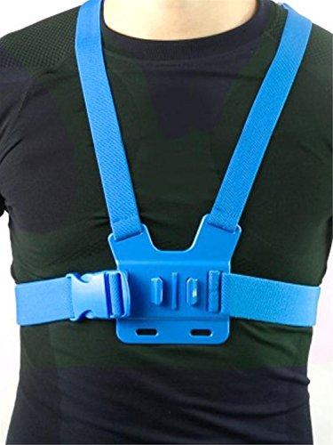Fnkaf Elastic Adjustable Colorful Chest Strap For Xtreme Sport Cameras Blue