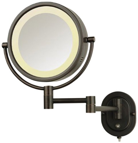 See All Hlbzsa895D Halo Lighted 8-Inch Diameter Wall Mounted Make Up Mirror 5X Direct Wire, Bronze front-1052130