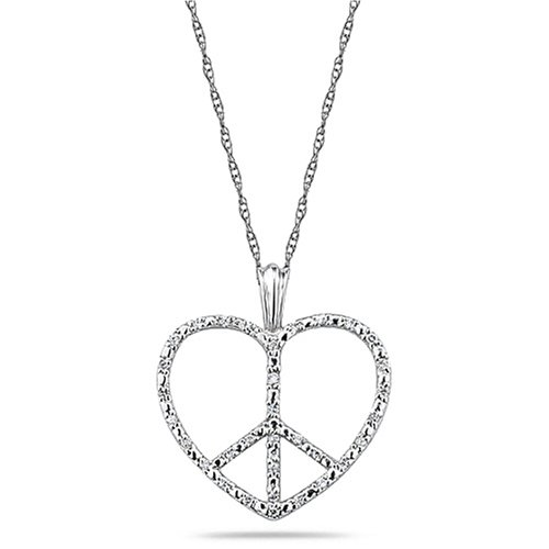 1d51b976abe2d Technical Details. See more technical details · Buy 10k White Gold Diamond  Heart Peace Sign Pendant (1 10 cttw ...