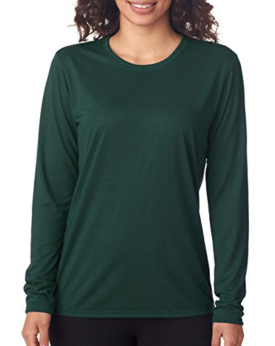 GILDAN Ladies' Core Performance Long Sleeve T-Shirt>L Forest Green