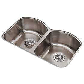 American Standard 7502.000.075 Culinaire 33-Inch Undercounter Mount Double Bowl Kitchen Sink, Stainless Steel