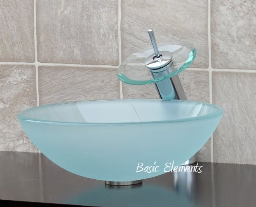 Bathroom frosted Glass Vessel Sink & chrome Faucet Combo & chrome Pop Up Drain Mounting Ring (R12FC4)