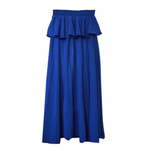 Toptie 2014 New Tiered Maxi Skirt, With Smocking Detail Blue