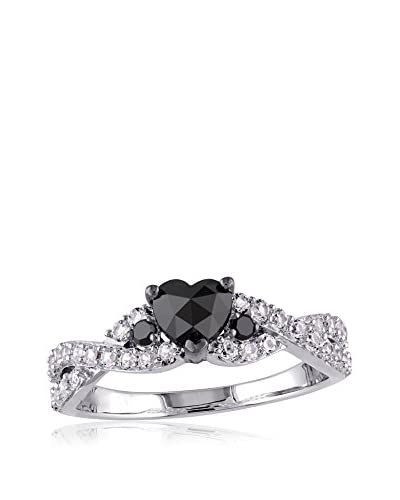 Rina Limor Silver Engagement Ring with 3/5 Cttw Black Heart Diamond and 0.64 Cttw Accent Created Whi...
