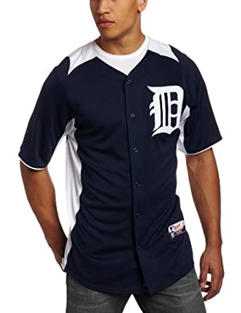 MLB Detroit Tigers Cool Base Auth Button Down Front Batting Practice Jersey, Navy... by Majestic