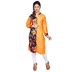 Sui Dhaga Orange Print Satin Cotton Kurti