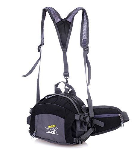 Zerd Multi-Functional Outdoor Sport Waist Pack Bag Pouch Belt Fanny Pack With Adjustable Shoulder Strap Black
