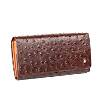 Anthoni Crown Ladies Leather Wallet Ostrich Design Brown X-Large