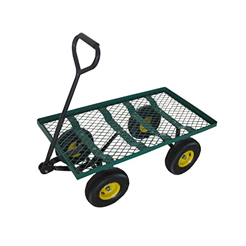 ALEKO TC4211 Farm & Ranch Heavy Duty Steel Flatbed Utility Garden Mesh Cart with Padded Pull Handle, 800 lb Capacity (Trailer Cart compare prices)