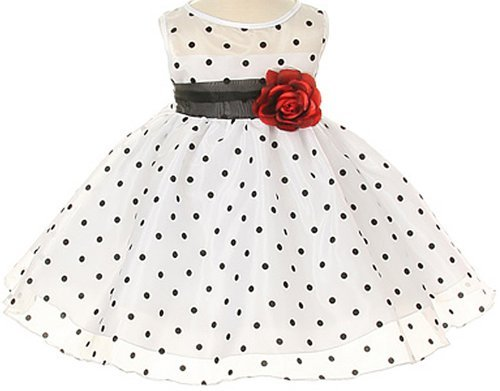 White Special Occasion Dress With Black Polka Dots Baby - L ( 12 - 18 Months ) Color: Baby: White W/ Black Dots Size: Large / 12-18 Months Newborn, Kid, Child, Childern, Infant, Baby