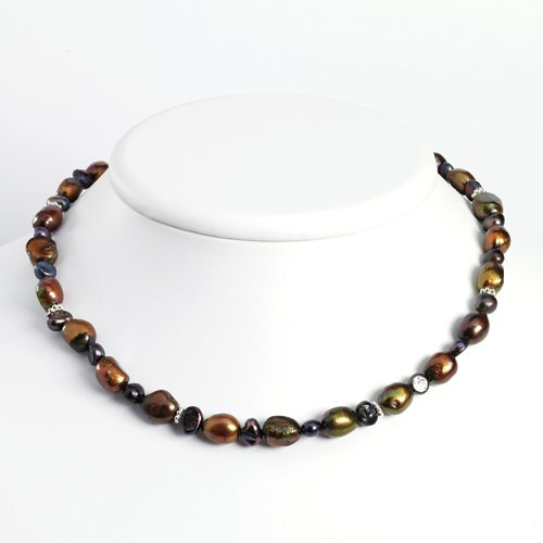 Sterling Silver Brown/Dark Purple Freshwater Cultured Pearl Necklace