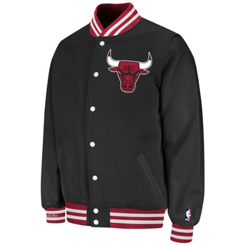 Chicago Bulls Black Mitchell &amp; Ness Wool/Leather Varsity Front Snap Jacket at Amazon.com