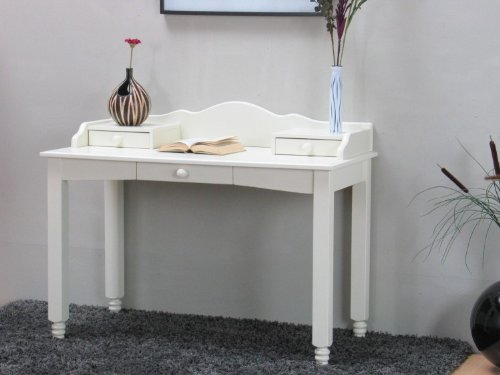 """dynamic24 Schreibtisch """"Lison"""" PC-Tisch Sekretär + Aufsatz + Schubladen vanilla lackiert"""