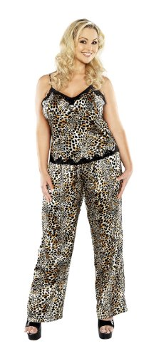 Plus Size Cami Top Leopard Print Satin Pajama Set