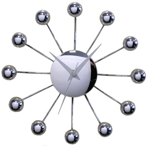 Timekeeper 11.5 Inch Chrome Spider Clock