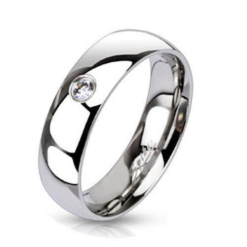 3mm Clear Solitaire CZ 6mm Wedding Band Engagement Stainless Steel Ring R225 Size 5 - 13
