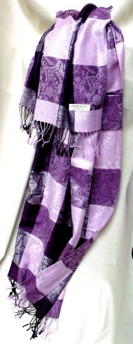 Davida Of Sweden Multi Color Square Pashmina Purple