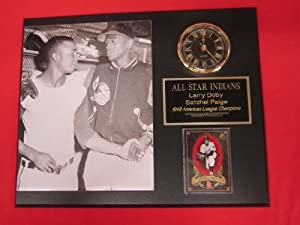 Satchel Paige Larry Doby Collectors Clock Plaque w 8x10 Photo and Card by J & C Baseball Clubhouse