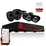 CamHome AHD 8-Channel 1080p 2.0MP Wired DVR Security System [Four 2.0 Megapixel Night Vision Cameras, 2TB Hard Drive, Smartphone App, DVR Set with HDMI Cable and Ethernet] (Color: Red)