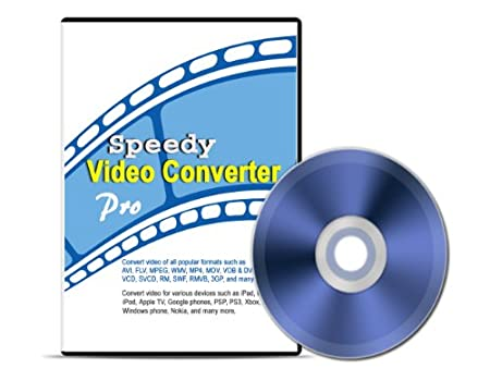 Speedy Video Converter Pro 3.20 (Download+CD): Converts videos of all popular formats such as AVI, FLV, MPEG, WMV, MP4, MOV, VOB & DVD, VCD, SVCD, RM, SWF, RMVB, and 3GP; includes iPhone video converter, iPad video converter, iPod converter, AVI converter, FLV converter, MP4 converter, MOV converter, MPEG converter, and DVD converter.