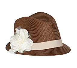 Born to Love Girl Straw Fedora Hat with Flower - S 12-24 months