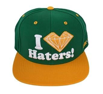 DGK x Diamond Supply Co. I Love Hearts Diamond Ghetto Kids Haters Snapback Hat - Green / Yellow