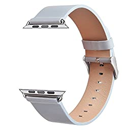 For Apple Watch Band,TOROTOP Light Gray Premium Genuine Leather Replacement Watchband with Secure Metal Clasp Buckle for 38mm Apple Watch Sport Edition/iWatch Band Strap (38mm-light gray)