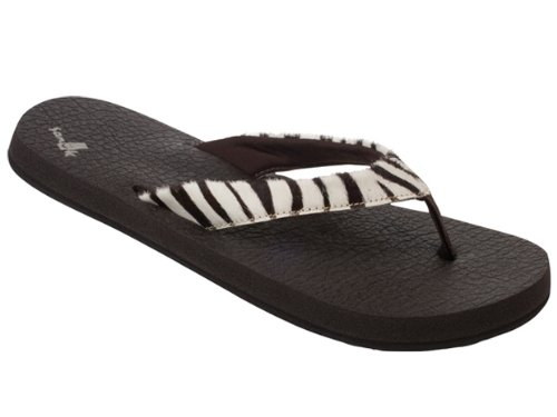 Sanuk Women's Yoga Safari Thong Sandal,Zebra,7 M US
