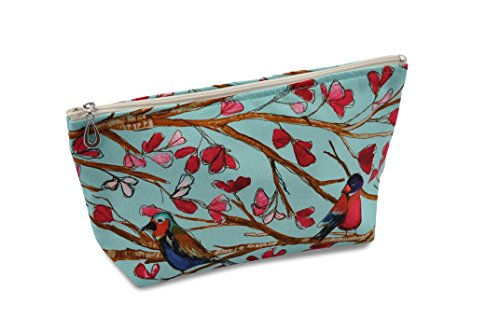 Dana-Herbert-Designer-Travel-Cosmetic-Tolietries-Bag-Size-Medium-5x9-inch-Cotton-with-Plastic-Liner-Handmade-in-USA-Aqua-and-Red-Birds-Pattern