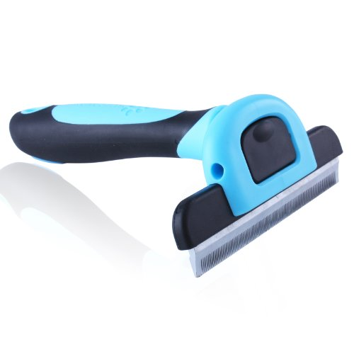 MIU COLOR™ Pet Grooming Large Deshedding Tool with 4-inch Edge for Short Hair and Long Hair Dogs/Cats(Blue)