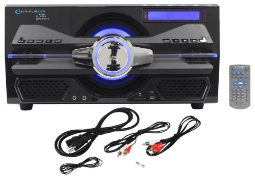 Technical Pro Bluet8X 2000 Watt Powered Bluetooth Speaker Stereo System With Fm Tuner / Usb Flash Drive / Sd Card / Rca Inputs