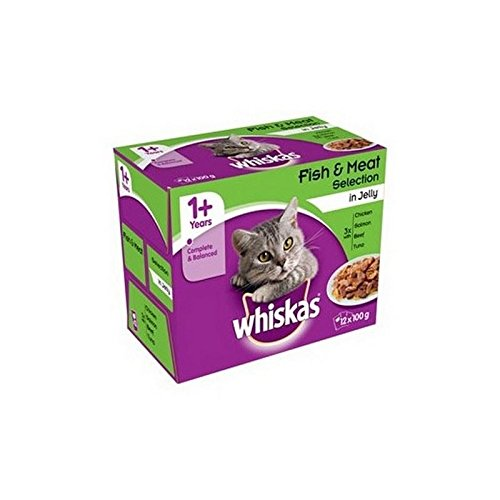 WHISKAS 1+ Adult Cat Food Pouches Fish and Meat Selection in Jelly 12 x 100g (1.2kg) (Pack of 2) (Jelly Fish Food compare prices)