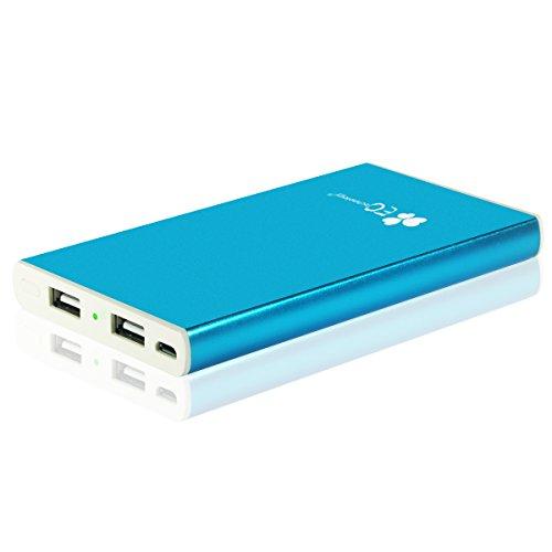 EC Technology 6000mAh モバイルバッテリー 急速充電 大容量コンパクト ブルー