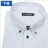 切り返し襟ボタンダウン 紺×ピンク チェック 半袖ワイシャツ 半袖シャツ メンズ 半袖 ワイシャツ Yシャツ