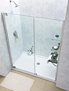 "SHOWER DOOR ACRYLIC CAST WHITE TRIM TOWEL BARS 20/"" 24/"" /& 26/"" CRYSTAL CLEAR LOOK"