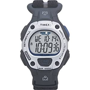 Timex Unisex T5G271 Ironman Traditional 30-Lap Black/Blue Fast Wrap Velcro St...