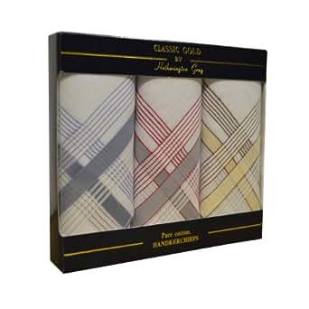 Paquet de 3 mouchoirs - homme mis en boîte 100% coton avec bordure colorée