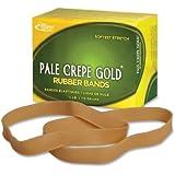 Alliance Rubber Pale Crepe Gold Rubber Bands #107 - 1/4 Pound Box 21079