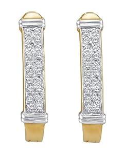 10k Yellow Gold 0.15 Dwt Diamond Micro Pave Set Hoop Earrings - JewelryWeb
