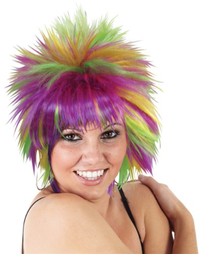 Sexy Adult Womens Purple Green Gold Mardi Gras Pixie Wig
