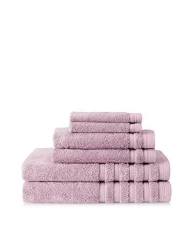Baltic Linen Pure Elegance 6-Piece Luxury Towel Set, Rich Cream, Light Purple