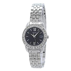 Seiko Women's Quartz Watch with Black Dial Analogue Display and Silver Stainless Steel Bracelet SXDE45