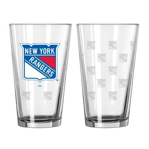 NHL New York Rangers Pint Glass Set (Pack of 2), 16-Ounce (Ny Rangers Wine Glass compare prices)