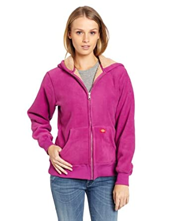 Dickies Women's Sherpa Bonded Fleece Hoodie, Pink Berry, Small